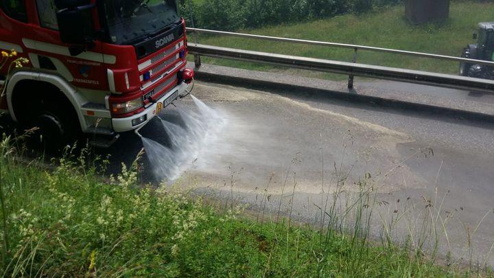 You are browsing images from the article: 06.06.2018: Straßenreinigung nach Gülleaustritt